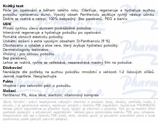 Panthenol Omega tělové mléko Aloe vera 9% 250ml