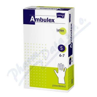 Ambulex rukavice latex.jemně pudr.S 100k