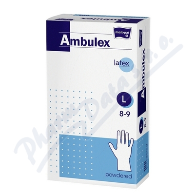 Ambulex rukavice latex.jemně pudr.L 100K