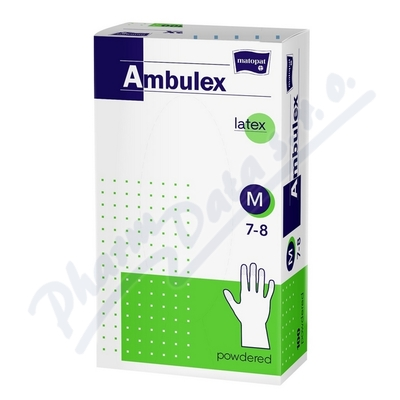 Ambulex rukavice latex.jemně pudr.M 100k